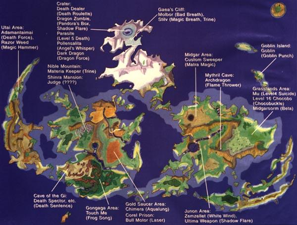 Final Fantasy 7 Enemy Skills Map